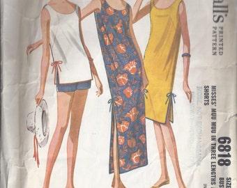McCall's 6818  1963 - Misses Muu Muu Dress & Shorts Pattern