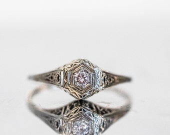 Antique Filligree White Gold Old European Cut Diamond Engagement  Ring ATL #157