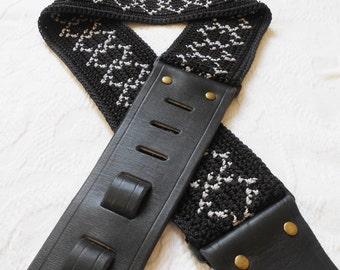 Handmade Guitar Strap Crochet and Leather Black