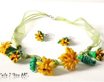 Polymer clay flower necklace Polymer clay dandelion necklace Clay flower earrings Polymer clay jewelry Yellow necklace Danedelion earrings