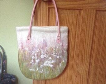Summertime - wet felted shoulder bag