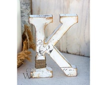 Rustic Wedding Letter: Stand alone letter - Decorative Nursery letter - Wedding decorations - Cake topper letter - Table centerpiece K