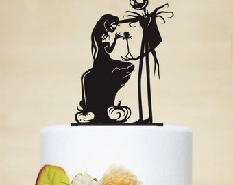 Wedding Cake Topper,Jack and Sally Silhouette,Custom Cake Topper,Elegant Cake Topper,Personalized Cake Topper,Unique Cake Topper P117