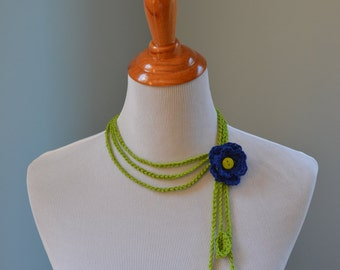 Crochet Dainty Flower Necklace - Seahawks Inspired