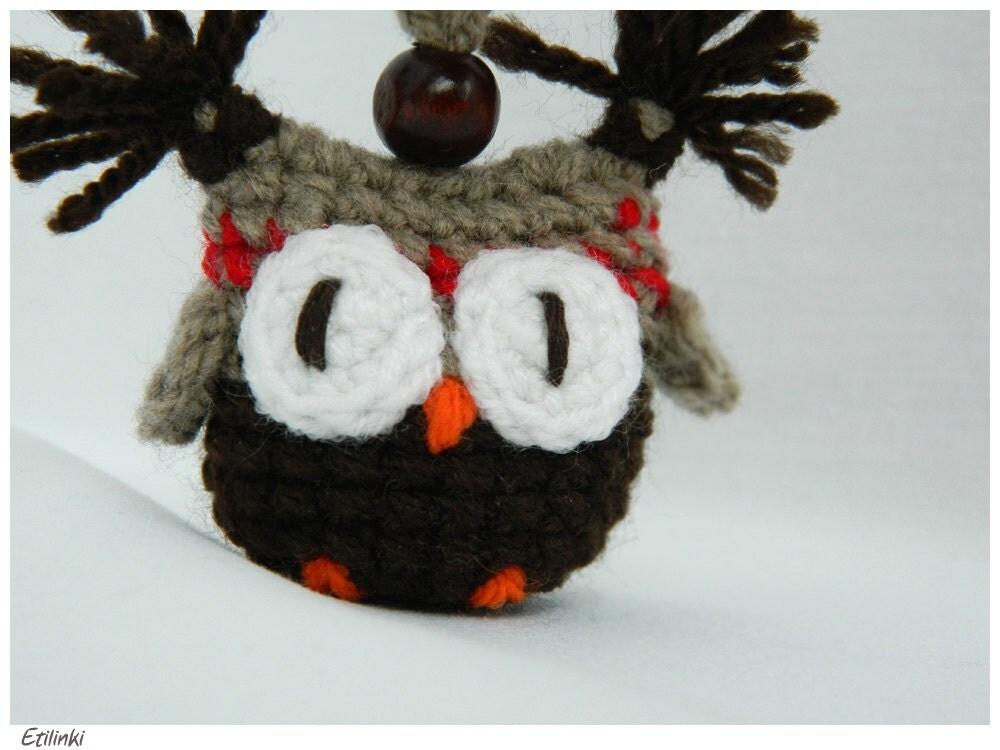 Amigurumi Owl Keychain : Ethnic Amigurumi Owl KeyChain Funky Bag Charm Crochet by ...