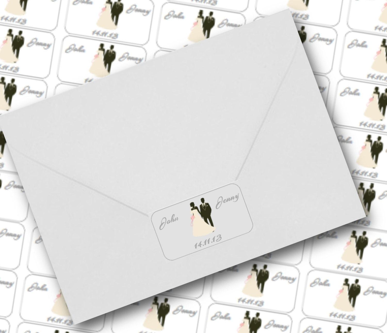 Round Wedding Invitation Label 1: Wedding Invitation Seals Bride And Groom On Clear Labels 65