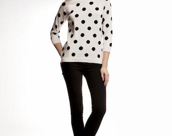 CHARLOTTE Polka dot-intarsia knitted jumper