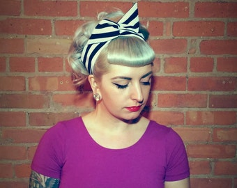 Pinup Headband beetlejuice stripes Dolly Bow Rockabilly Hair Accessories