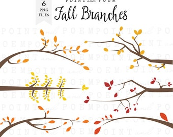 Branches clipart, fall branches clip art, tree branches silhouette, yellow red orange,scrapbook supplies