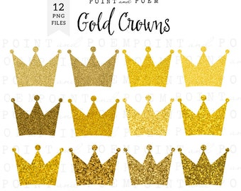 Gold glitter crown clipart, gold crowns clip art, sparkly digital crown, princess, party, scrapbooking
