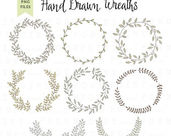 Wreath Clip art: ''DIGITAL WREATH'' laurel wreath clipart,wedding wreath, scrapbooking,hand drawn,leaves