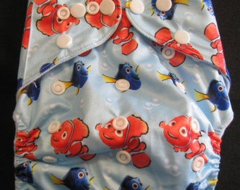 Adjustable Snap Reusable Pocket Cloth Diaper Cover with 2 free inserts Nemo Print