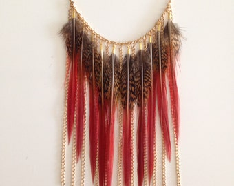 Red and gold pheasant feather chain necklace boho bohemian feathers