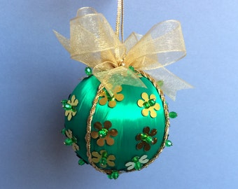 Green Gold Sequined Christmas Ornament