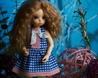"""BJD YoSD LittleFee cotton dress """"Blue Cell"""""""