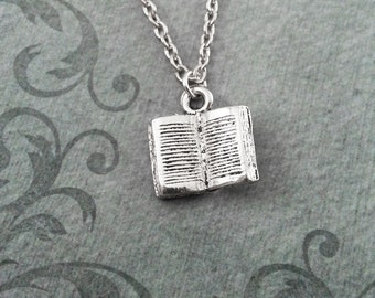 Book Necklace SMALL Open Book Jewelry Teacher Necklace Teacher Jewelry Teacher Gift Librarian Gift Writer Jewelry Reading Gift Book Club
