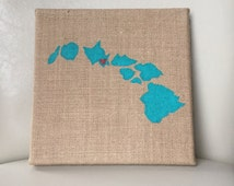 Burlap Canvas - State Painting - Hawaii - State Art and Decor
