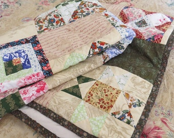 quilt green beige handmade cotton large patchwork 120x180 cm