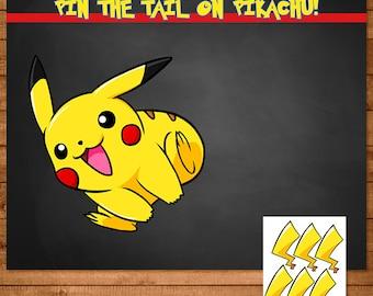 Pokemon Pin The Tail on Pikachu Activity Chalkboard - Pokemon Party Favors - Pokemon Party Supplies - Pokemon Printables