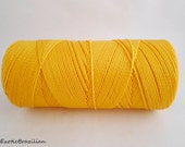 Yellow thread, waxed polyester cord, 16yards, yellow waxed polyester thread, jewelry thread, macrame cord, necklace thread, canary yellow