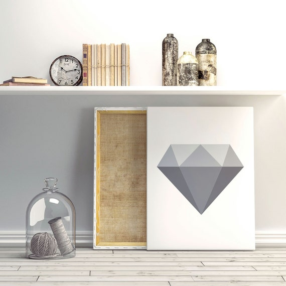 Diamond poster, Greyscale poster, Modern poster, Printable poster, Minimal wall decor, Scandinavian poster, Nordic decor, Diamond wall art