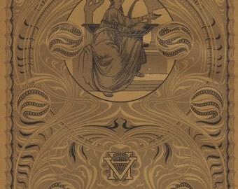 Decorative endpaper original 1922 art nouveau print - Jugendstil end paper - 93 year old German antique chromolithograph illustration (A356)