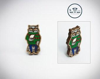 Owl brooch, wooden owl jewelry, wooden owl pin