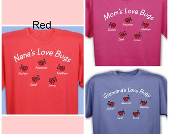 Love Bugs Personalized T-Shirt - 11 Colors - Add Up To 30 Names!