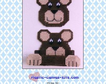 Teddy Bear Coaster Set-Plastic Canvas Pattern-PDF Download