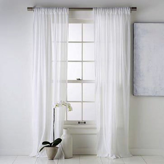 White Chiffon Curtain Sheer Window Dressing By