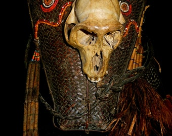 Naga Headhunters Traditional Adorned Basket With Skull, Horn, Hair, Beads, Original Authentic Asia