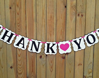 Thank You Banner - wedding  - reception - thank you cards - photo prop