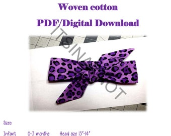 Knotted headband pdf pattern,woven headwrap Pattern,baby Headband Pattern, Digital Download,Bandana Pattern,DIY headwrap