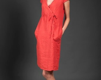 Coral Red Linen Dress with short sleeves, knee-length. Vermilion red pure linen summer dress. Linen fashion.