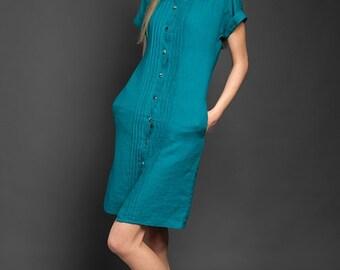 Teal Blue Linen dress tunic with Peter Pan collar, button down blue linen dress, short sleeve linen tunics, womens linen clothing
