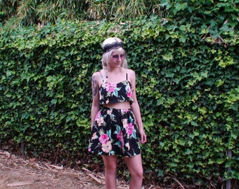 Upcycled 90s Floral Skirt. High Waisted Gathered A- Line Skirt Size Small-Medium