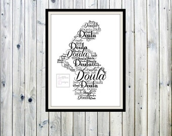 Doula, Pregnancy Coach Gift, Midwife Gift, Maternity Word Art, Wall Decor, Word Cloud, Typography Print, Baby Shower Gift, Home Birth