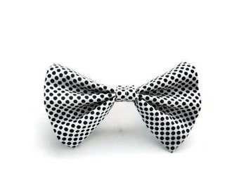 Black and White Polka-dot Hair Bow | ponytail holder | hairbows | hair accessories | hair tie | hairband | hair piece | black hairpiece