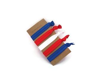 4th of July Fold Over Elastic Hair Ties | FOE hair ties | elastic hair ties | red elastic bracelet | elastic hairband |  elastic hair ties