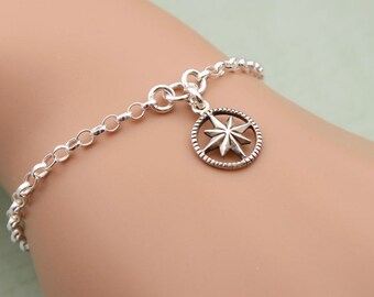 Sterling Silver Compass Bracelet, Graduation Gift, Friendship Bracelet, Compass Rose, Compass Jewelry, Silver Compass Charm
