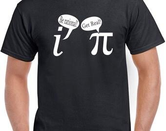 Be Rational Get Real funny pi math nerd geek mathematics retro cool college party joke school - Mens T-shirt - apparel clothing - IIT293