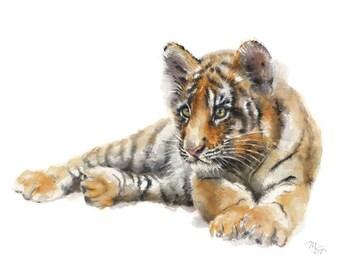 Baby Tiger Watercolor Print - Modern Tiger Decor - Tiger Painting - Tiger Portrait - Tiger Art Print - Tiger Wall Art