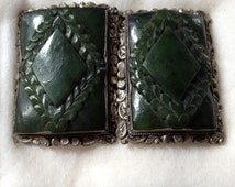 Spinach Green Jade Silver Chinese Belt Buckle Antique Vintage