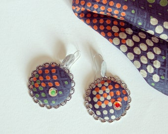 Upcycled Vintage Necktie Silk covered Buttons Earrings