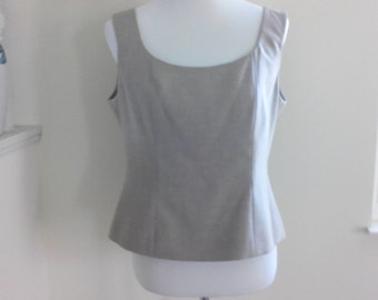 Vintage 90s Cropped Sleeveless Fitted Shell by Jones of New York, Size 10, Button Back Blouse, Fitted Minimalist Top, Hipster Career Wear