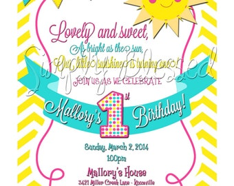 BRIGHT & Sunny Sunshine Birthday Invitation - DIY By: SimplyBlessedDesign