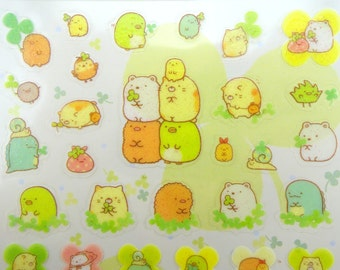 Japanese Sumikko Gurashi and clovers San-X GLITTER stickers - kawaii mochi bear - neko cat - Shiro Kuma - Penguin - Tokage Suzume - Tonkatsu