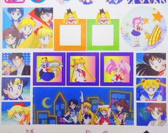 Rare VINTAGE Sailor Moon R kawaii stickers - Venus, Jupiter, Mars, Mercury - Chibiusa - Luna - Tuxedo Mask - Black Lady -  label sticker