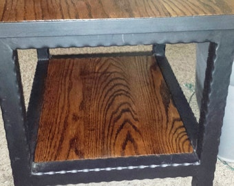 Handcrafted Hammered Wrought Iron End Side Table with Shelf Below-CLEARANCE
