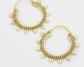 Indian tribal earrings. tribal earrings. bohemian earrings. ethnic earrings. hoop earrings. indian earrings. gypsy earrings. brass earrings.